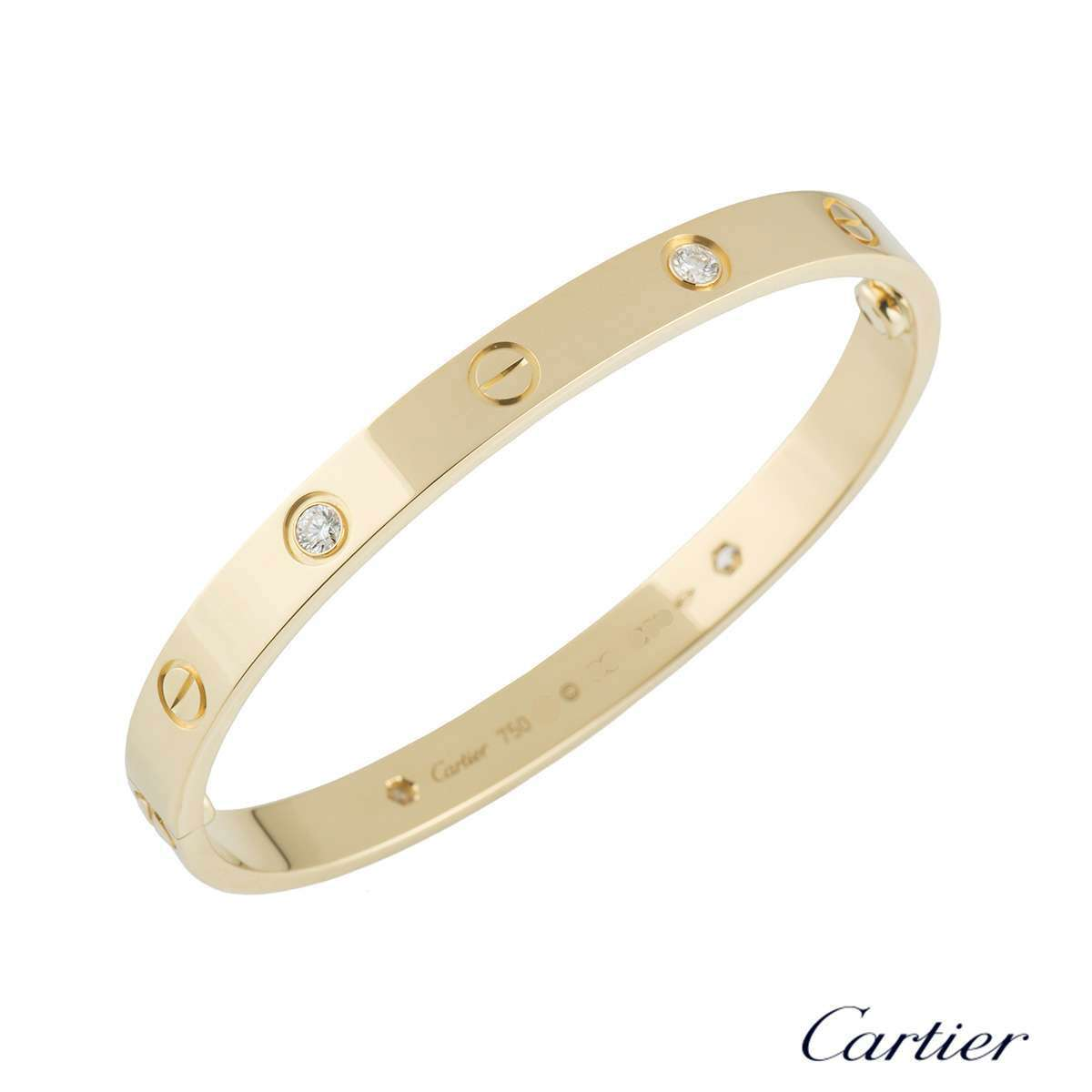 Cartier Yellow Gold Half Diamond Love Bracelet Size 19 B6035919